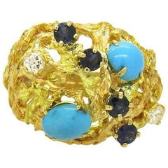 1970s Free-Form Design Gold Turquoise Sapphire Diamond Cocktail Ring