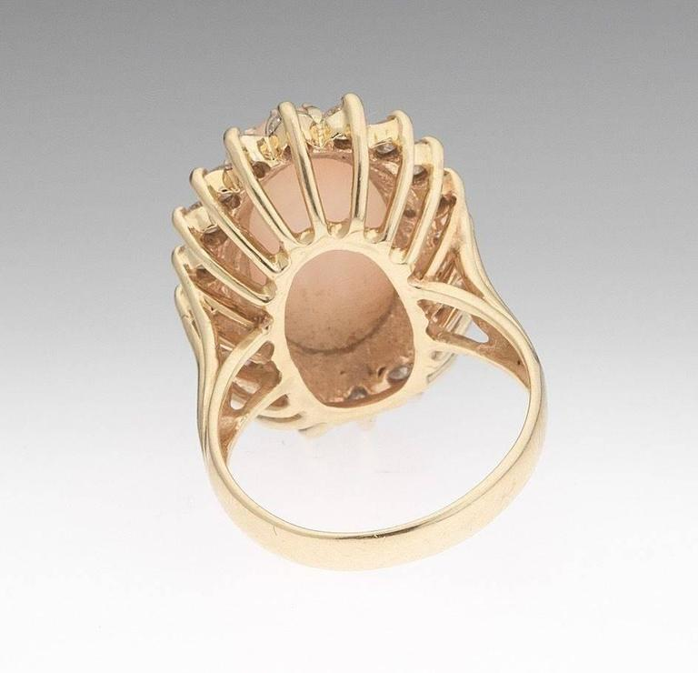 Large Angel Skin Coral  Diamond Gold Cocktail Ring 5