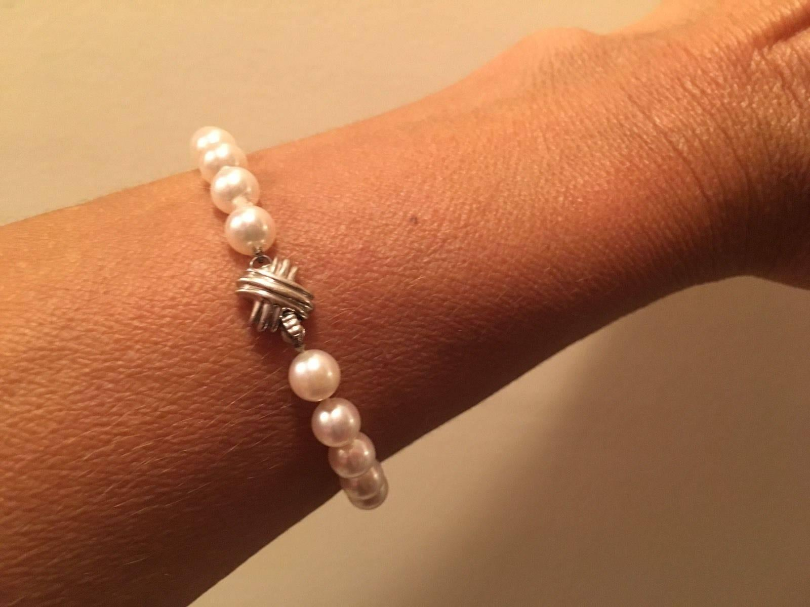 1aa754c99 Tiffany and Co. Stunning White Gold Signature X Akoya Cultured Pearl  Bracelet at 1stdibs