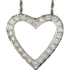 Beautiful 0.75 Carat Brilliant White Diamond Heart Pendant Necklace
