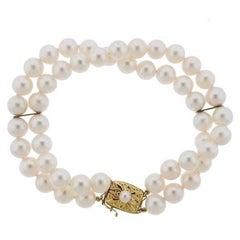 Mikimoto Cultured Pearl Double Strand 18 Karat Gold Bracelet
