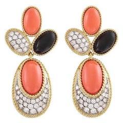 Estate 18 Karat Gold Coral Onyx 1.50 Carat VS Diamond Dangle Earrings