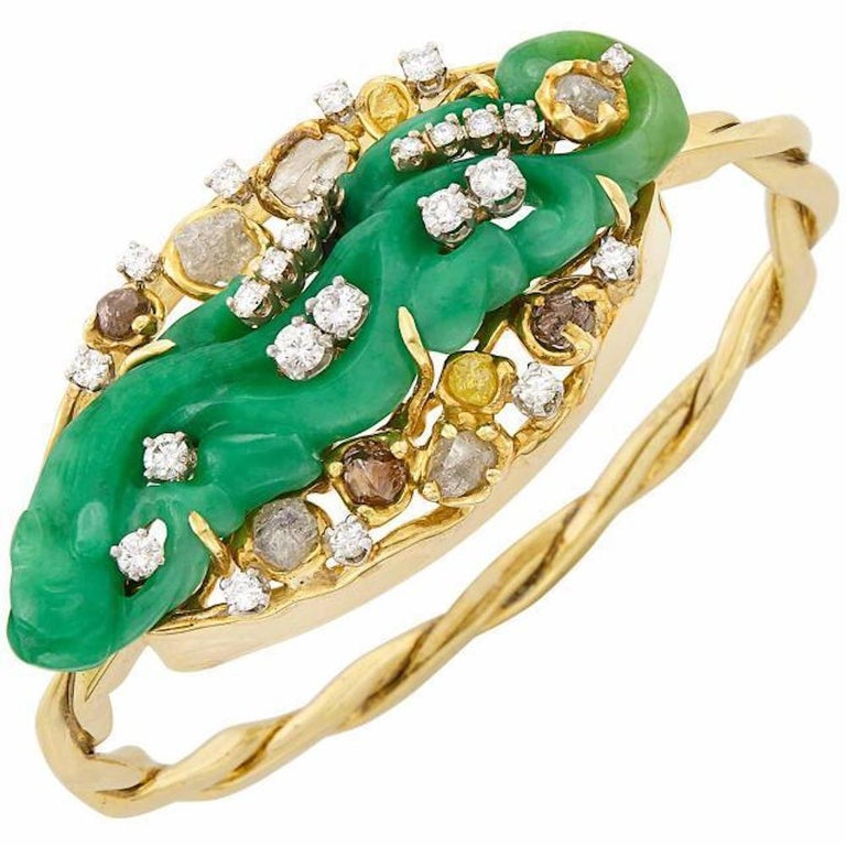 18 Karat Gold Peter Lindeman Jade Rough Cut Vs Diamond Bangle Bracelet Cuff For