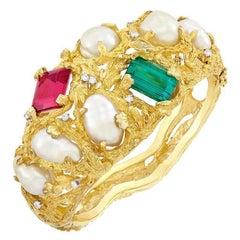 Heavy 18 Karat Gold Baroque Pearl Gemstone Diamond Cuff Bangle Bracelet