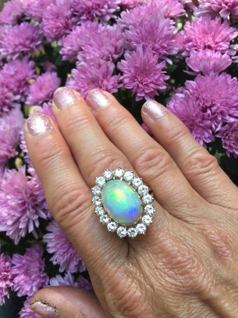 Estate Vintage Large Opal 15 Carat VS Diamond Statement Cocktail Ring  In Excellent Condition For Sale In Shaker Heights, OH