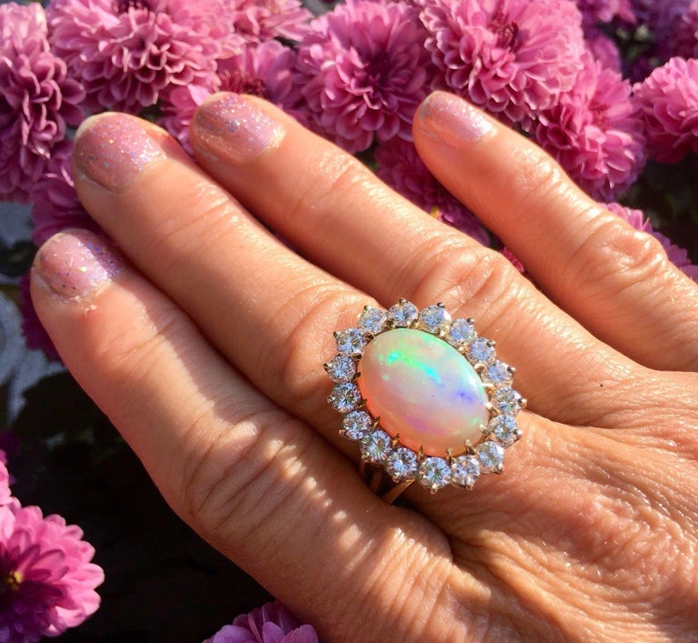 Impressive Large Opal 3.00 Carat VS Diamond Cocktail Ring For Sale 4