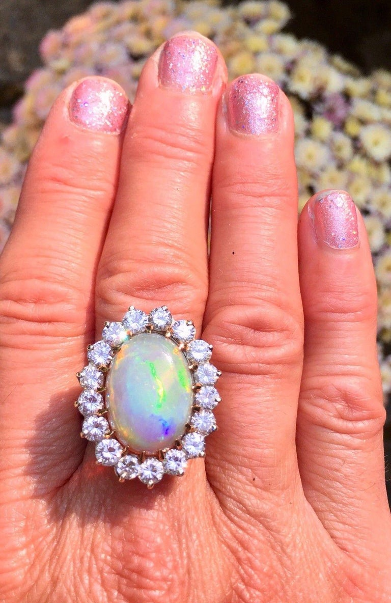 Impressive Large Opal 3.00 Carat VS Diamond Cocktail Ring In Excellent Condition For Sale In Shaker Heights, OH