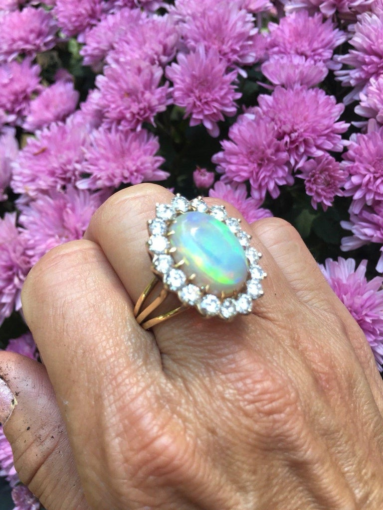 Impressive Large Opal 3.00 Carat VS Diamond Cocktail Ring For Sale 3