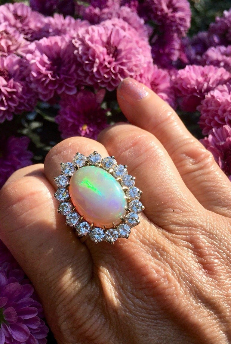 Impressive Large Opal 3.00 Carat VS Diamond Cocktail Ring For Sale 5