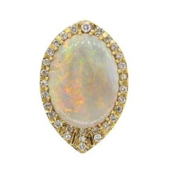Impressive 1970s 14 Karat Gold 29 Carat Opal VS Diamond Brooch Necklace Pendant