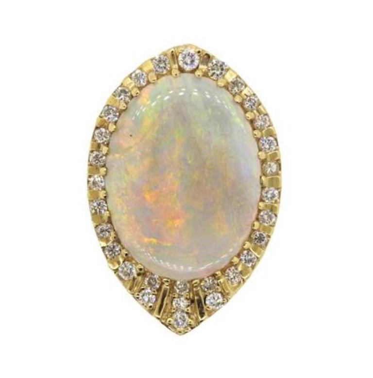 Impressive 1970s 14 Karat Gold 29 Carat Opal VS Diamond Brooch Necklace Pendant