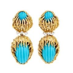 Stunning Estate Gold Carved Turquoise VS Diamond Dangle Pendant Earrings