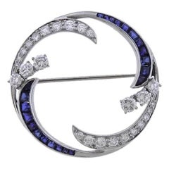 Midcentury 1950s McTeigue 2.00 Carat Sapphire Diamond Platinum Pin Brooch
