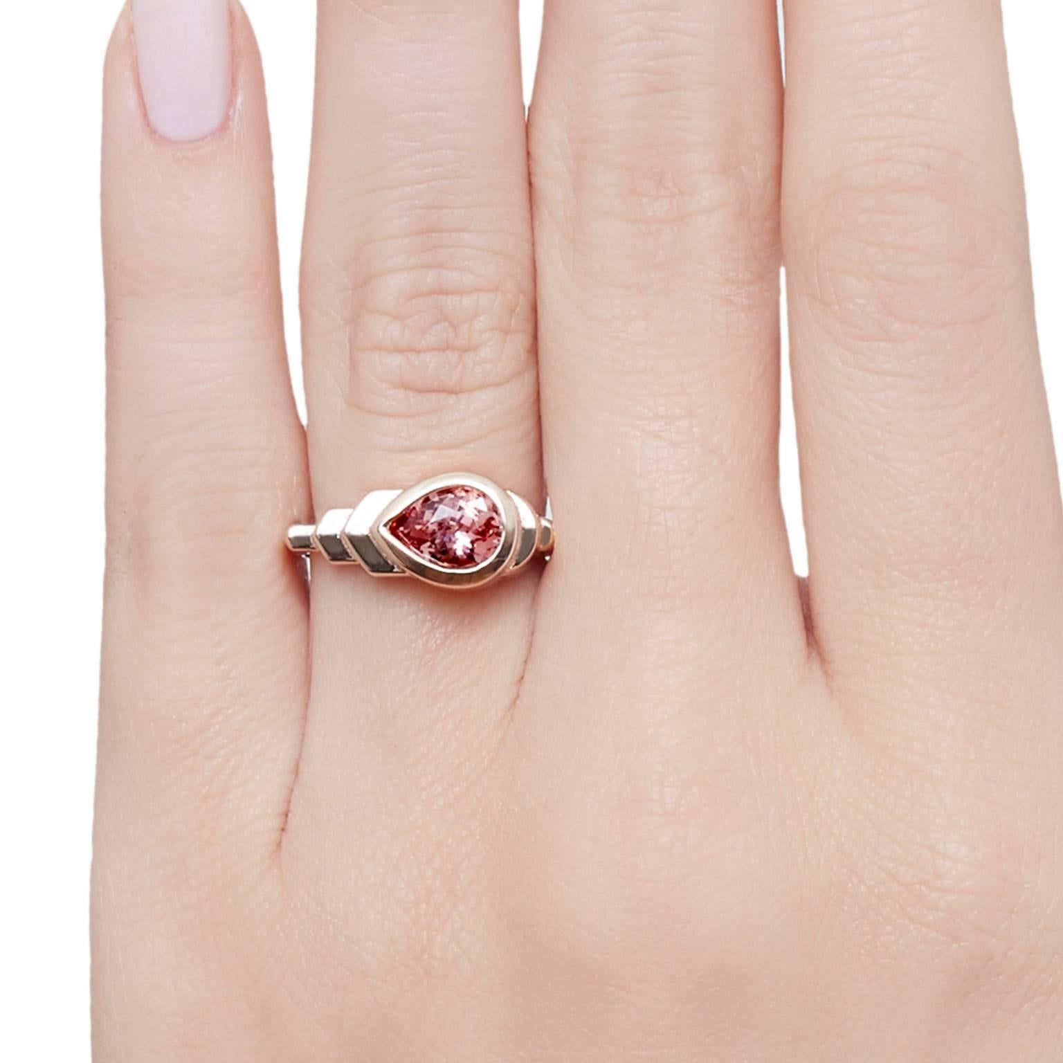 Cushla Whiting Art Deco Style Peach Spinel in Rose Gold \'Skyline ...