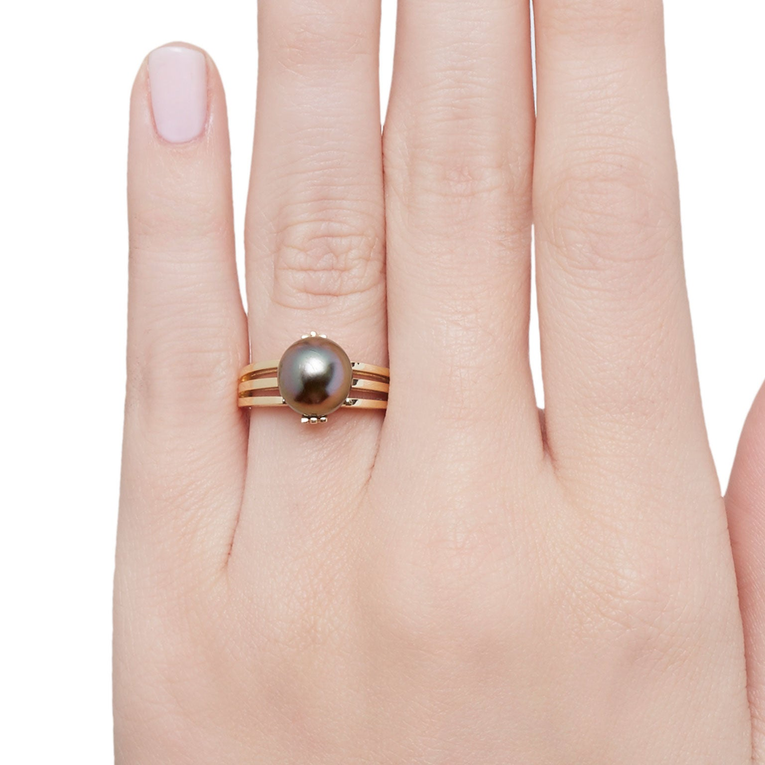 Cushla Whiting Black Pearl and Gold Globe Ring For Sale at 1stdibs