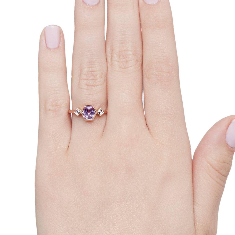 Cushla Whiting Geometric Lavender Sapphire and Diamond Engagement ...
