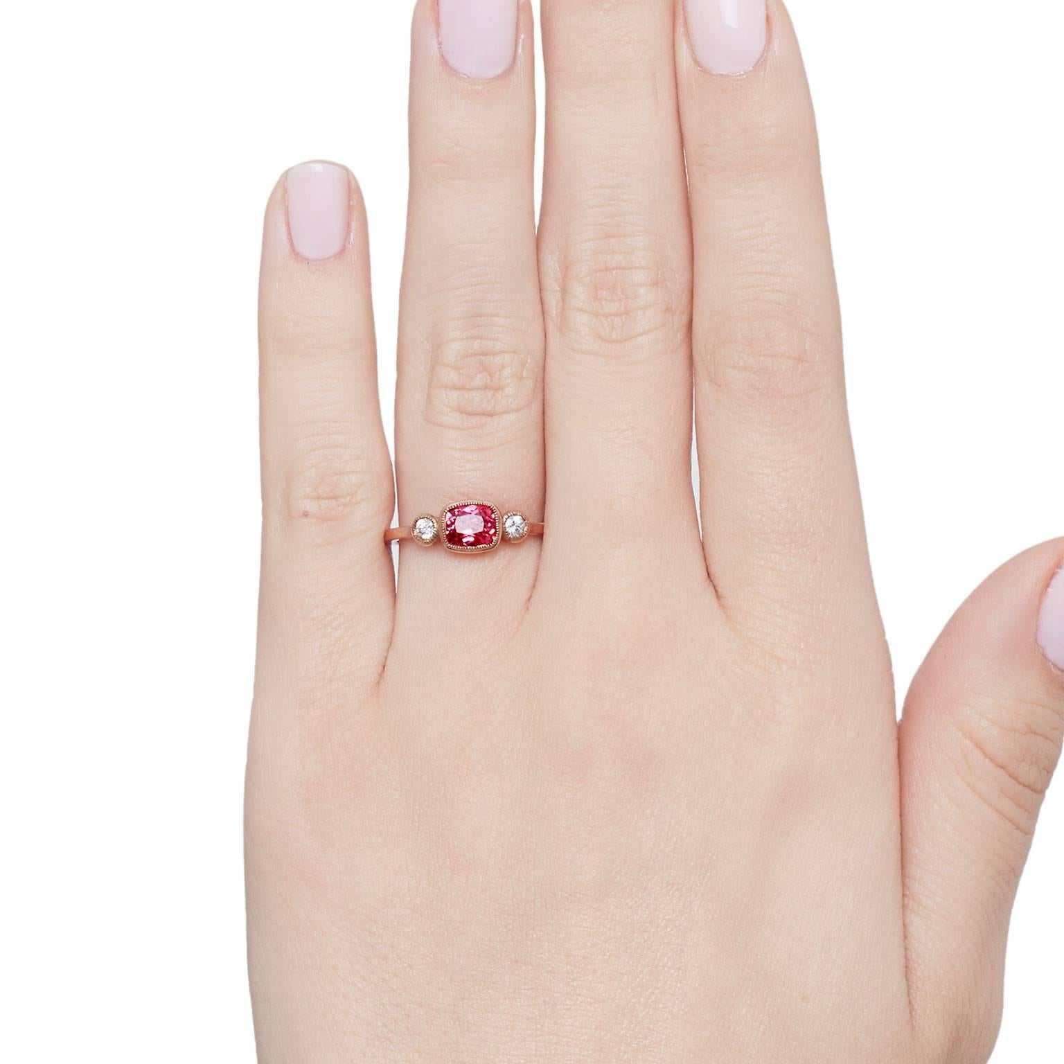 Cushla Whiting Red Spinel and Diamonds set in Rose Gold Engagement ...