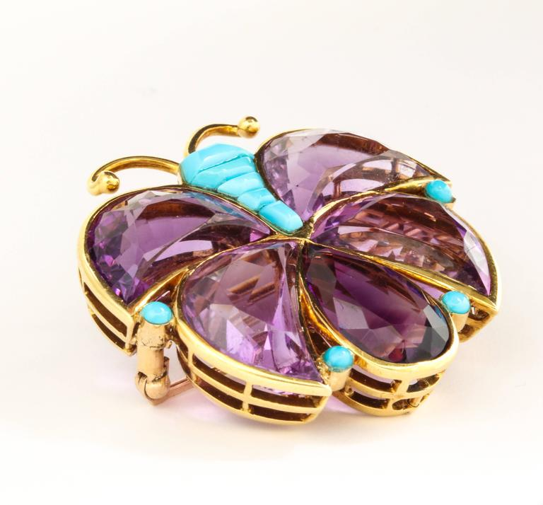Van Cleef & Arpels Amethyst Turquoise Gold Butterfly Brooch In Good Condition For Sale In New York, NY