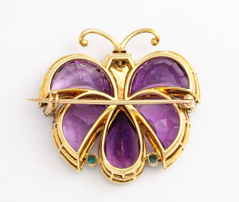 Women's or Men's Van Cleef & Arpels Amethyst Turquoise Gold Butterfly Brooch For Sale