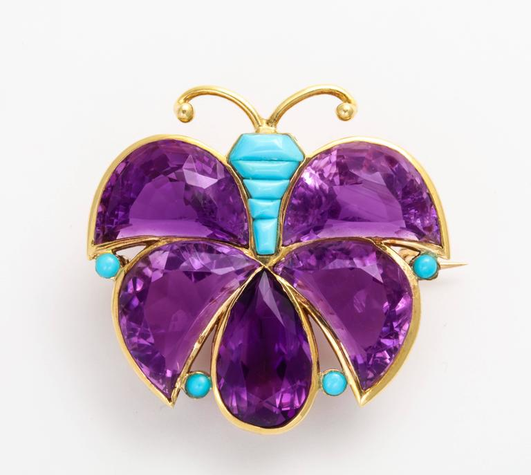 Van Cleef & Arpels Amethyst Turquoise Gold Butterfly Brooch For Sale 1