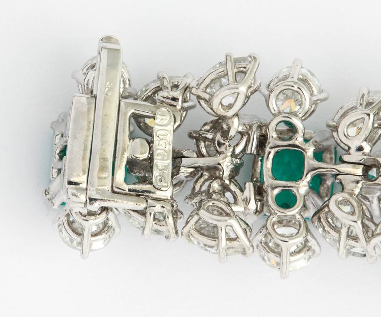 Very Fine Harry Winston Emerald Diamond Bracelet  Diamond weight approx: 28 carats Emerald weight approx: 16.51 carats  All stone quality is very fine, consistent  with typical Harry Winston   Maker's Mark for Tavernier, and numbered