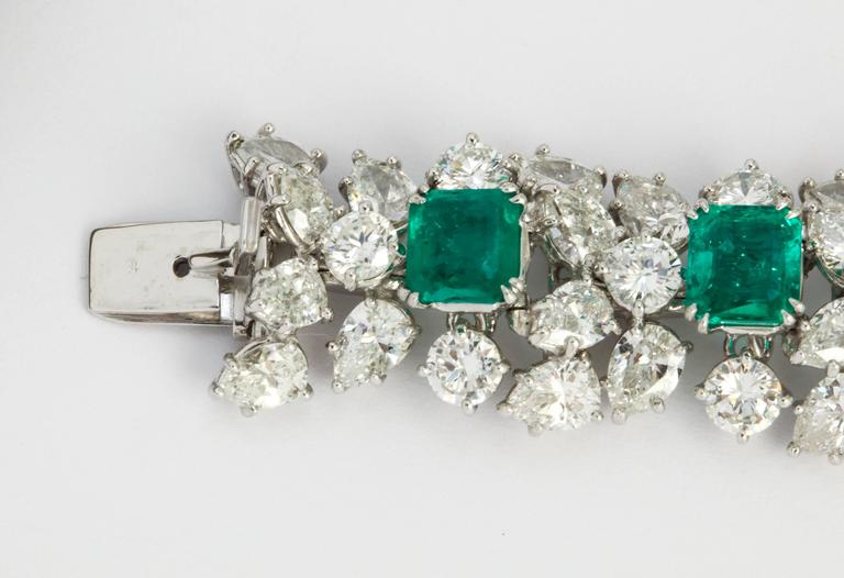 Women's or Men's Harry Winston Emerald Diamond Bracelet For Sale