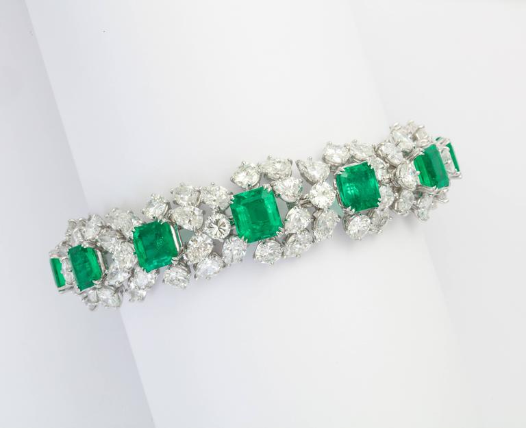 Harry Winston Emerald Diamond Bracelet For Sale 1