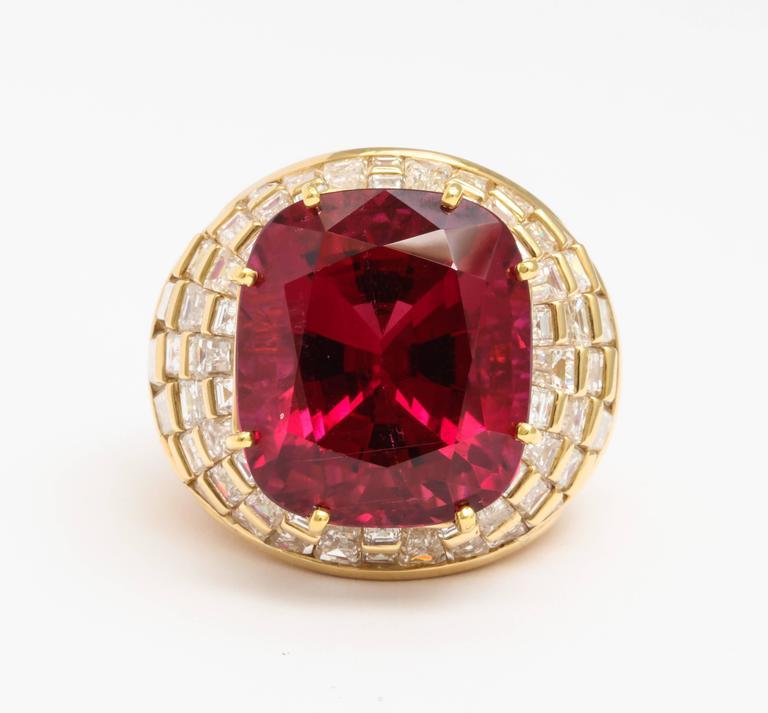 Oscar Heyman Gem Rubellite Tourmaline Diamond Gold Ring 2