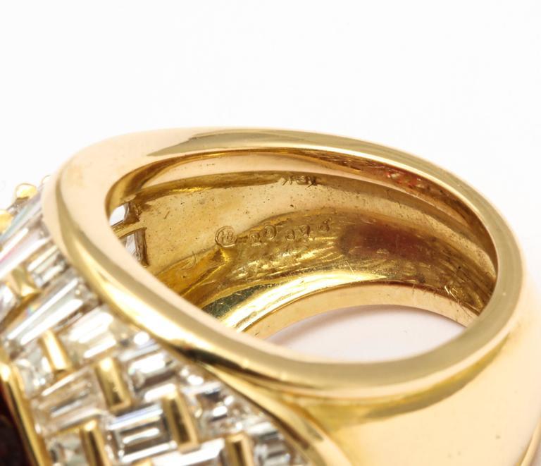 Oscar Heyman Gem Rubellite Tourmaline Diamond Gold Ring 3