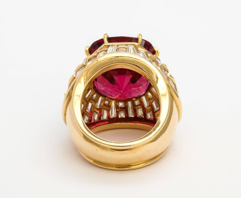 Oscar Heyman Gem Rubellite Tourmaline Diamond Gold Ring 4