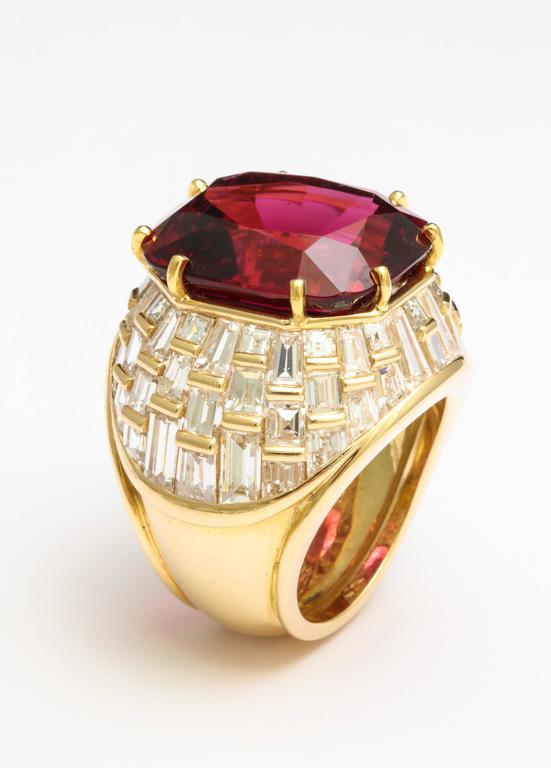 Oscar Heyman Gem Rubellite Tourmaline Diamond Gold Ring 5