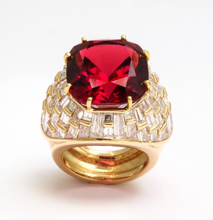 Oscar Heyman Gem Rubellite Tourmaline Diamond Gold Ring 6