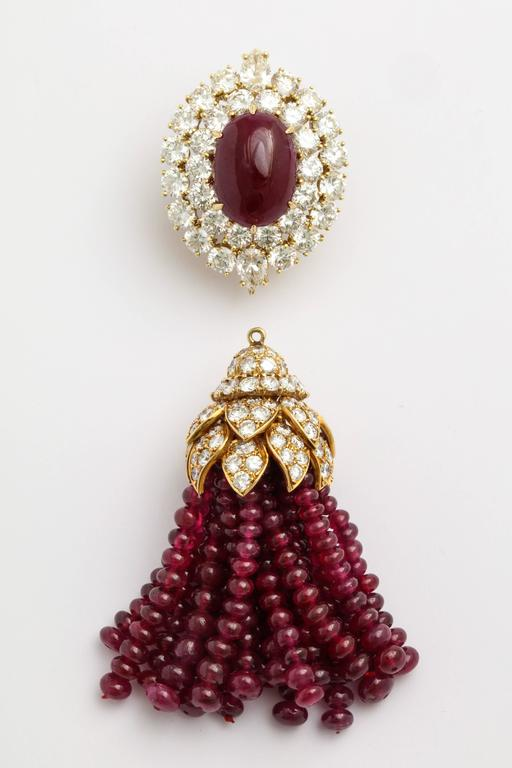 Magnificent Van Cleef & Arpels Ruby Diamond Day and Night Tassel Earrings 4