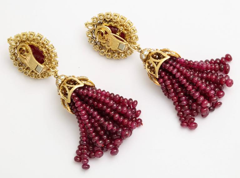 Magnificent Van Cleef & Arpels Ruby Diamond Day and Night Tassel Earrings 6
