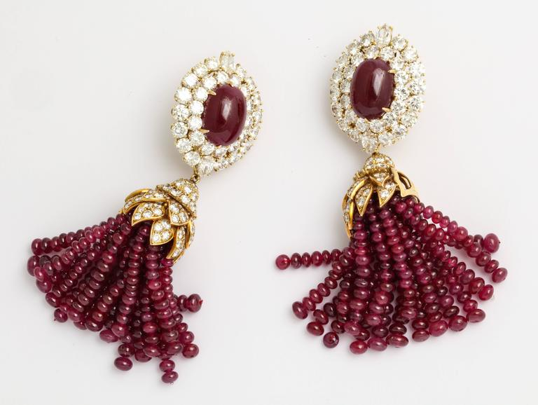 Magnificent Van Cleef & Arpels Ruby Diamond Day and Night Tassel Earrings 2