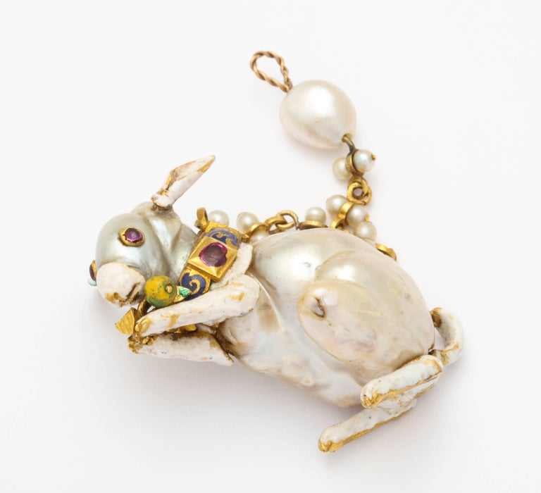 19th Century Renaissance Revival Natural Pearl Gold Rabbit Pendant 2