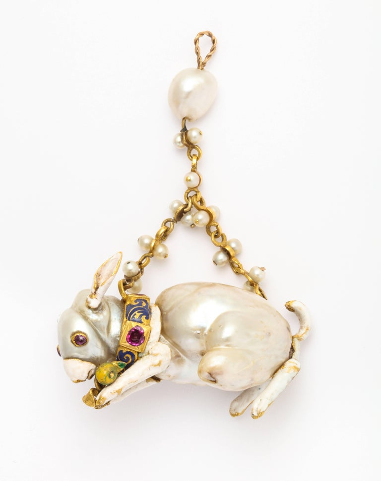 19th Century Renaissance Revival Natural Pearl Gold Rabbit Pendant 3