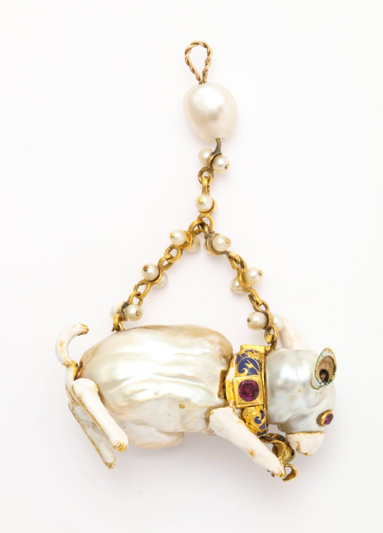 19th Century Renaissance Revival Natural Pearl Gold Rabbit Pendant 4