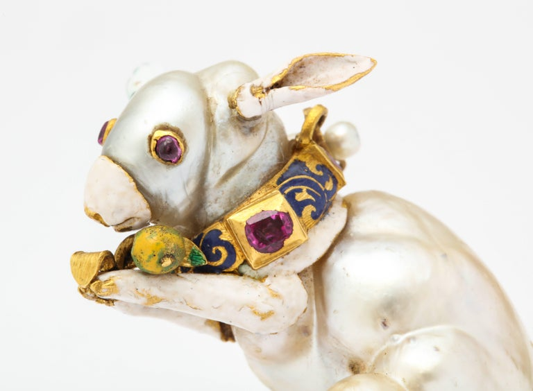 19th Century Renaissance Revival Natural Pearl Gold Rabbit Pendant 7