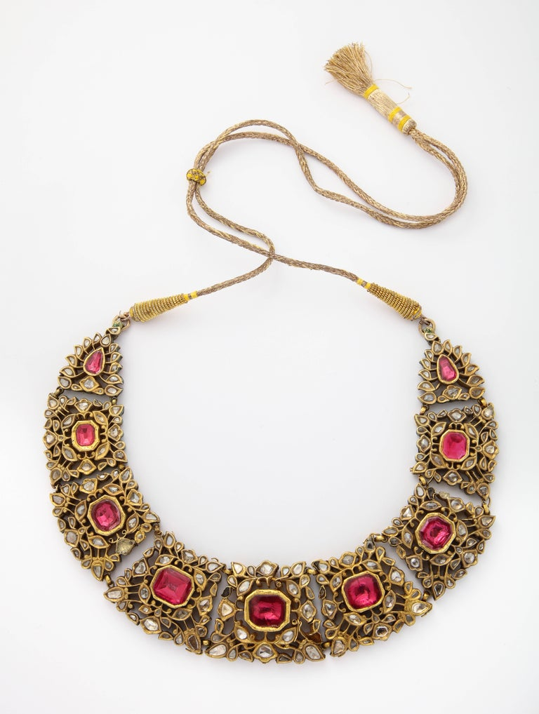 Antique Mughal Indian Spinel Diamond Jaipur Enamel Necklace In Good Condition For Sale In New York, NY
