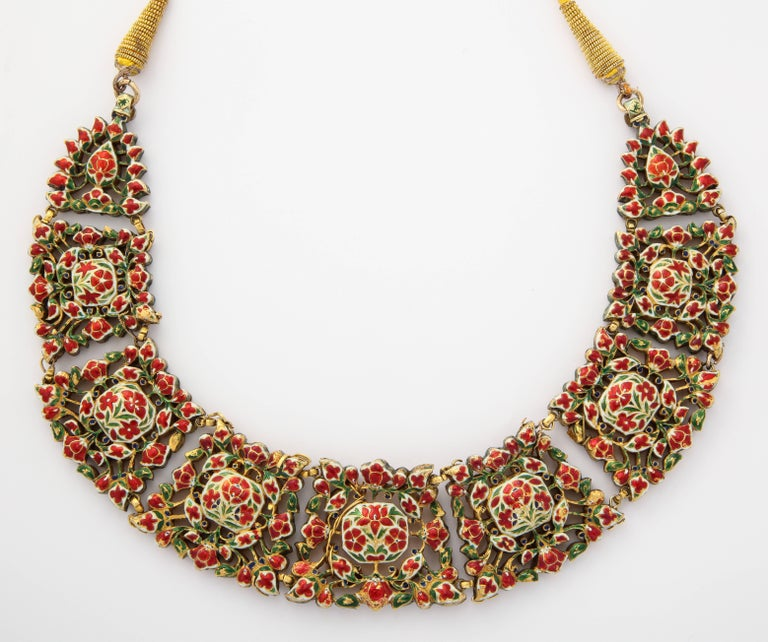 Antique Mughal Indian Spinel Diamond Jaipur Enamel Necklace 4