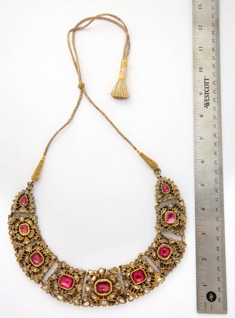 Antique Mughal Indian Spinel Diamond Jaipur Enamel Necklace For Sale 2