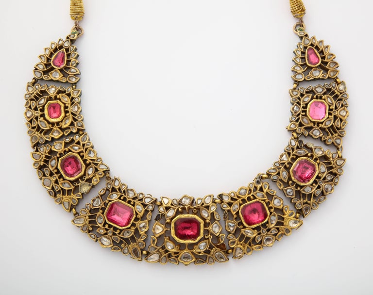 Antique Mughal Indian Spinel Diamond Jaipur Enamel Necklace For Sale 3