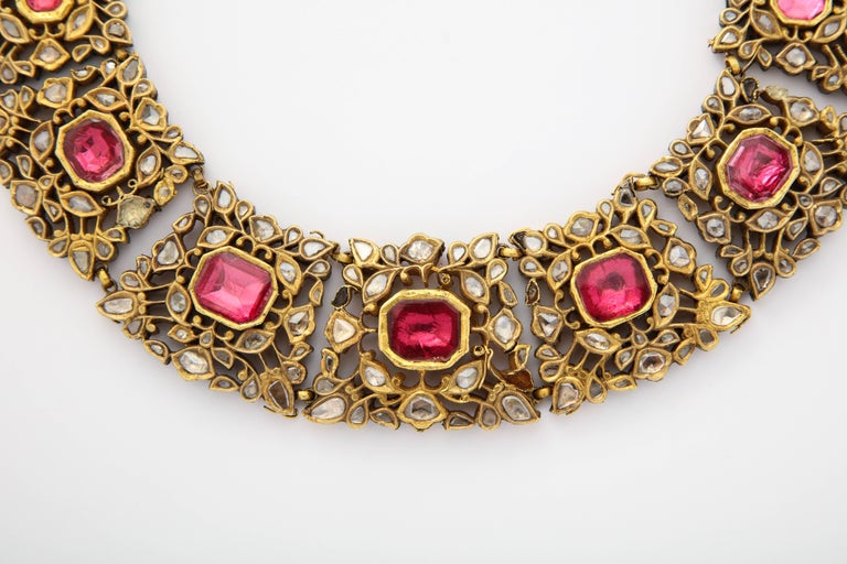 Antique Mughal Indian Spinel Diamond Jaipur Enamel Necklace 8