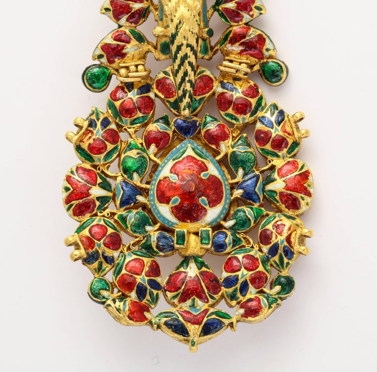 Indian Mughal Diamond  Jaipur Enamel Sarpech Urban Ornament Brooch 5