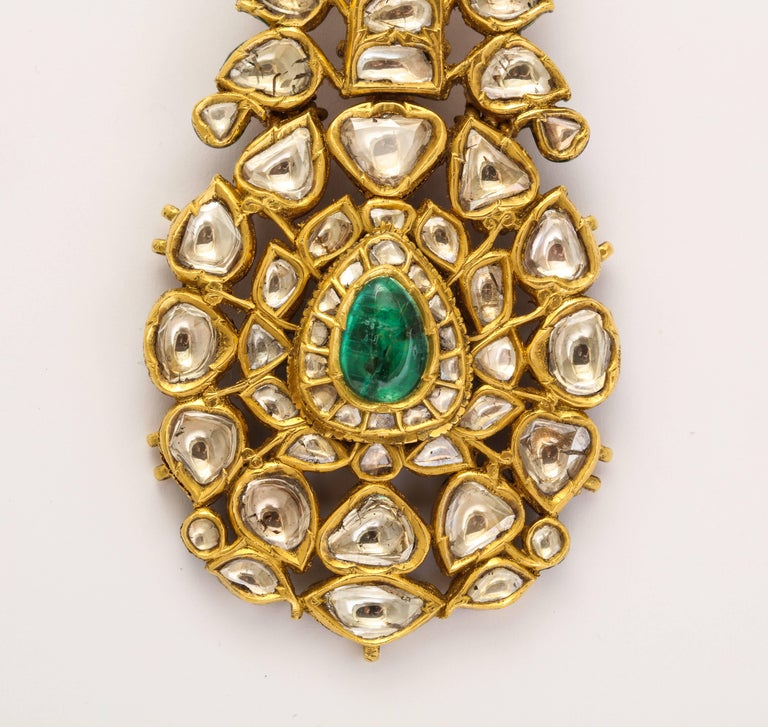 Indian Mughal Diamond  Jaipur Enamel Sarpech Urban Ornament Brooch 2