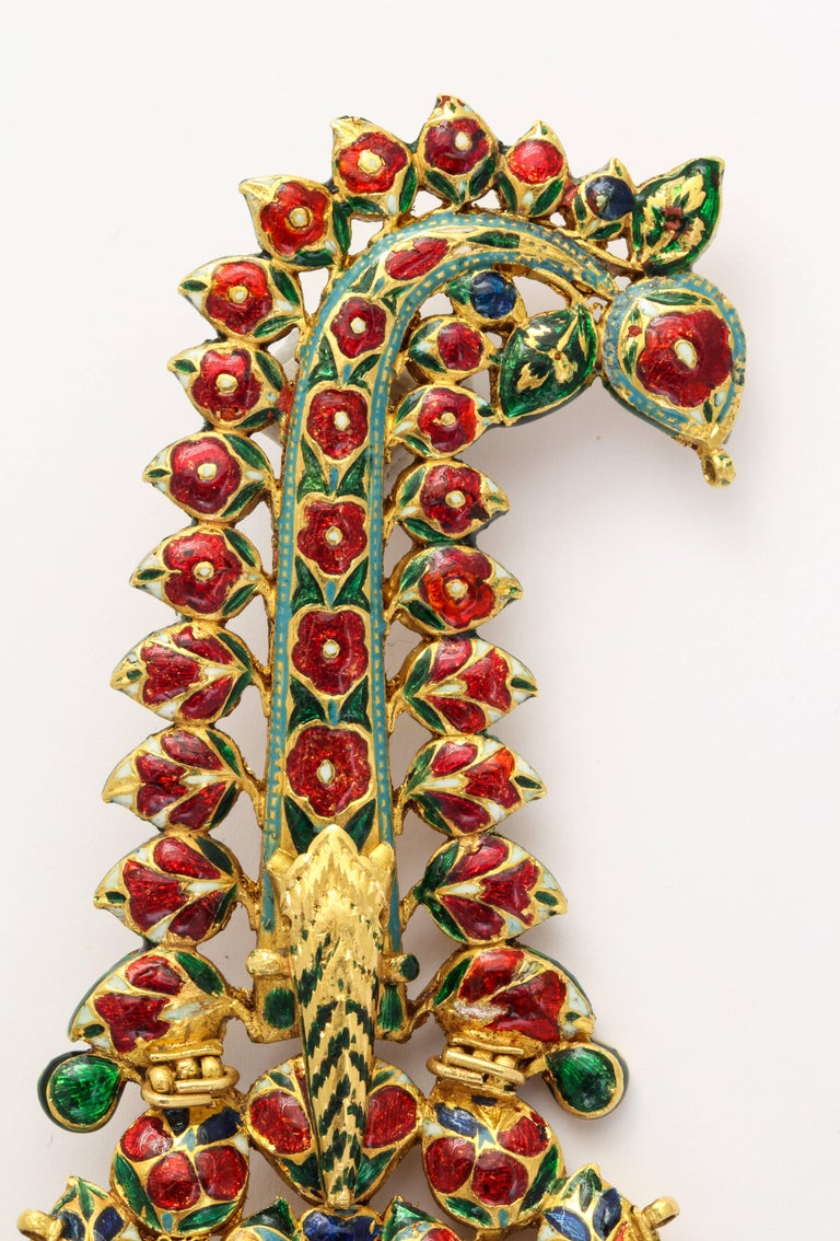 Indian Mughal Diamond  Jaipur Enamel Sarpech Urban Ornament Brooch 6