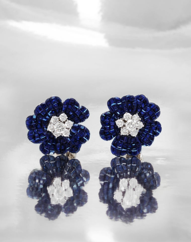 Van Cleef & Arpels Mystery Set Sapphire and Diamond Brooch and Earrings Set 2
