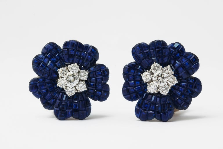 Van Cleef & Arpels Mystery Set Sapphire and Diamond Brooch and Earrings Set 9
