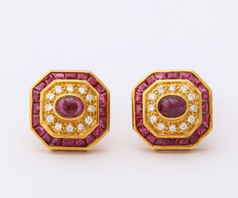 Ruby and Diamond Cuff-Links For Sale 1
